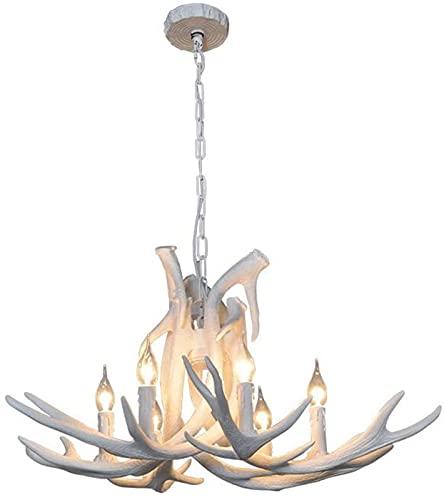 BGDGTP Lampadario Vintage in Resina Corno di Cervo 6 luci, lampadari in Corno di Campagna Rurale, Sala Studio/Ufficio, Sala da Pranzo, Camera da Letto, lampadario Soggiorno