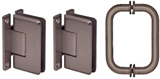CRL Oil Rubbed Bronze Cologne Shower Pull and Hinge Set
