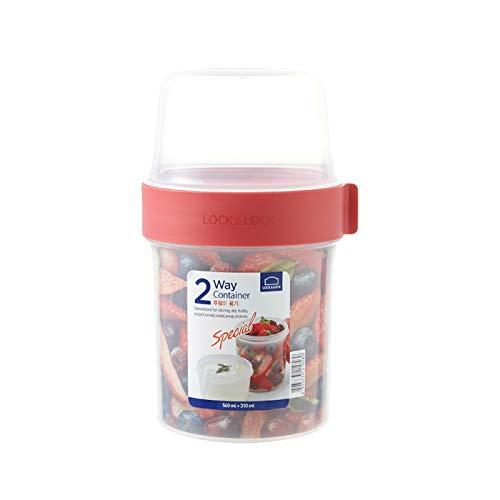 LOCK & LOCK TWO-WAY Müsli-to-go-Becher aus Kunststoff – Kleine Lunchbox mit Schraubdeckel und zwei Behältern – 560 ml & 310 ml
