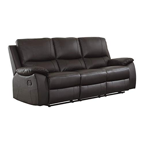 Lexicon Bisson Leather Match Double Reclining Sofa, 79' W, Brown