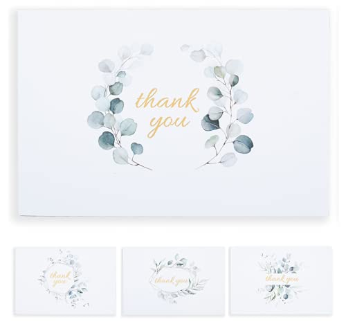 Eucalyptus Wedding Thank You Cards with Envelopes, Thank You Cards Bulk Set of 48, 4x6, Blank Thank You Cards Business, Thank You Notes for Bridal Shower, Baby Shower, Engagement Party, Tarjetas de Matrimonio