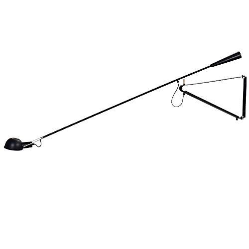 WVIVW Faltbare Wandleuchte LED lange Arm einstellbare Schalter Kabel Schlafzimmer Studie Nachttischlampe Teleskop wandlichter Leselampe mit Netzschalter wandstrahler E27,Black150x85cm