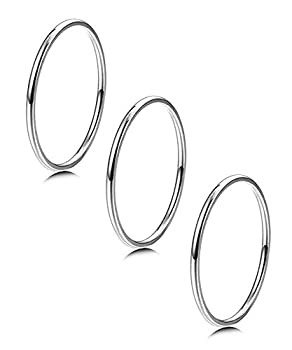 LOYALLOOK 3pcs 1mm Stainless Steel Women s Plain Band Knuckle Stacking Midi Rings Comfort Fit Silver Tone 5#