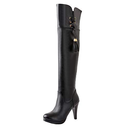MISSUIT Damen High Heels Overknee Stiefel mit Fransen und Reißverschluss Langschaftstiefel Stiletto Boots(Schwarz,39)