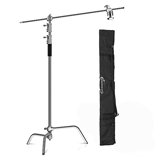 ShowMaven 10ft (Century) Light Stand C-Stand on Turtle Base with 4ft Extension Boom Arm & 2 Pieces Grip Head and Carry Bag for Photography Studio Video Reflector, Monolight and Backdrops