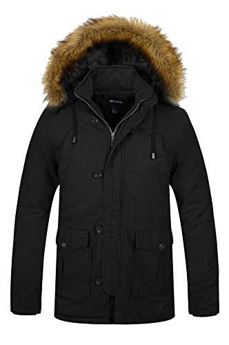 Wantdo Abrigo para Hombres Parka de Invierno Chaqueta Acolchada de Algodón con Capucha de Piel Sintética Medium Negro