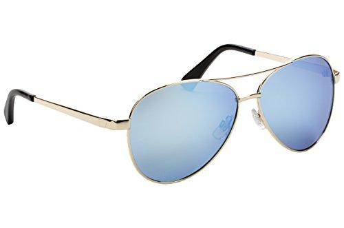 Strike King Plus Flyer Polarized Sunglasses, Gold Frame/Black Tips and Blue Mirror Gray Base Lens