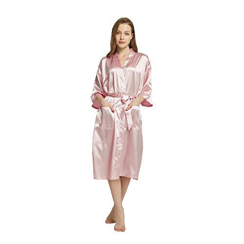 Westkun Kimono Japones Mujer Albornoz Vestido de Satén Novia Suave Cómodo Sedoso y Agradable Pijamas Largo Sexy Elegante de Bata Camisón Robe Lencería Cardigan(Champagne,3XL)