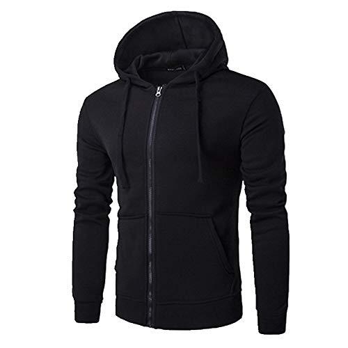 Pull à capuche pour homme style printemps et automne avec fermeture éclair - Noir - XL