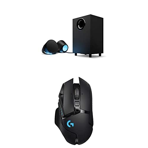 Logitech G560 LIGHTSYNC PC Gaming Speakers with Game Driven RGB Lighting & G502 Lightspeed Wireless Gaming Mouse with Hero 16K Sensor, PowerPlay Compatible, Tunable Weights and Lightsync RGB