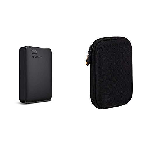 WD Elements Externe Festplatte 4 TB (USB 3.0-Schnittstelle, Plug-and-Play, kompakt und leicht) schwarz & Amazon Basics Schutzhülle für Externe Festplatten