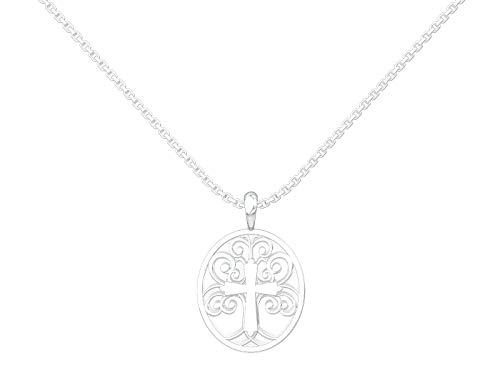 """Logos Trading Post Jewelry - Sterling Silver Tree of Life with Cross Pendant With 18"""" Sterling Silver Chain, Christian, Religious, Faith Necklace for Women"""