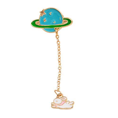 F Fityle Creativo Astronauta Broche Planeta Serie Dibujos Animados Broche Color Cadena Larga Borla Solapa Pin Para Mujeres Niñas - Conejo, tal como se describe