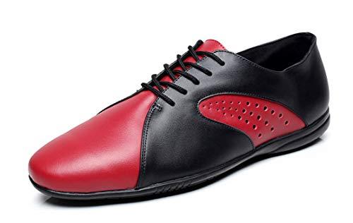 MINITOO QJ9017 Herren Mode Leder Ballsaal Latein Tango Salsa Tanzschuhe, Schwarz - schwarz / rot - Größe: 39 2/3 EU