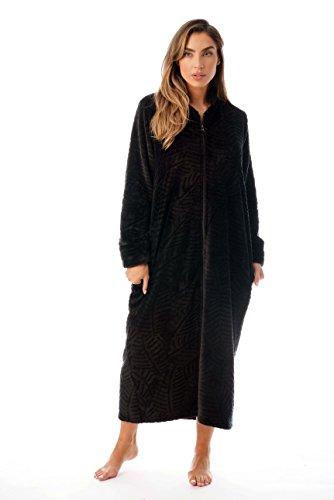 Just Love Plush Zipper Lounger Robe 6729-BLK-2X Black