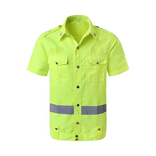 Shirt Half Veiligheid mouwen Vest Reflecterend lente en de herfst Duty Dienst Male Verkeer korte mouw Werkkleding zomer Warning Coat Ademende XMJ (Size : S)