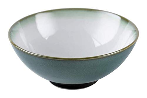 Ramen Bowl Japanese Style Large Bowl Set Gradient Green Rounded Single Ramen Ceramic Bowl, Stackable Easy to Clean Safe and Healthy Non-Slip Reusable Ceramic Soup Bowl (Size : 7.5 inches)