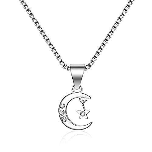 GLLFC Collar para Mujer Collar Hombre S925 Plata de Ley Estrella y Luna Colgante Moda Chica Clavícula Colgante Collar Colgante Niñas Niños Regalo