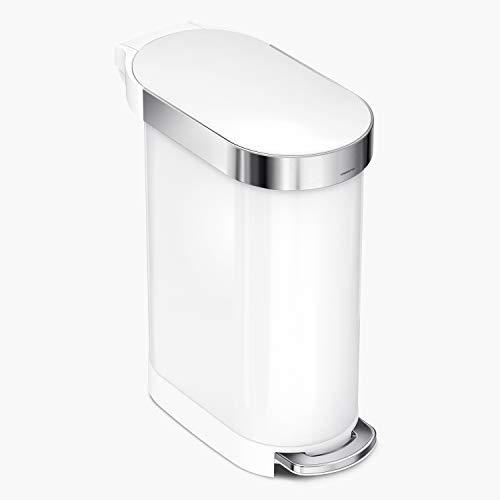 cubo estrecho con pedal, acero blanco, 45 L