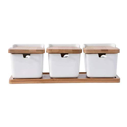 Sywlwxkq Set di 3 vasi per condimenti Vasetti per condimenti in Ceramica Ciotole per Zucchero Scatole per Sale con cucchiai in Ceramica Coperchio in bambù Vassoio in Legno Sale e Pepe Shaker Modern H