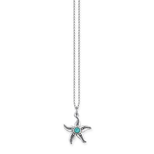 THOMAS SABO Damen-Kette mit Anhänger Ethno Seestern Halzkette 925 Silber Diamant (0.2 ct) weiß Türkis 0.11 cm - D_KE0013-357-17-L45v
