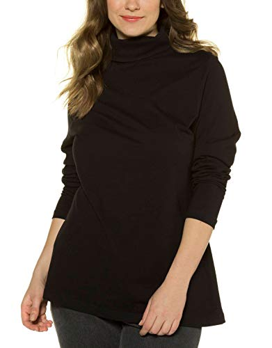 Ulla Popken Große Größen Damen Rollkragenpullover Shirtrolli Basic Schwarz (Schwarz 10), 56 (Herstellergröße: 54+)