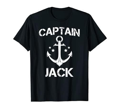 CAPTAIN JACK Divertido cumpleaos personalizado nombre barco regalo Camiseta