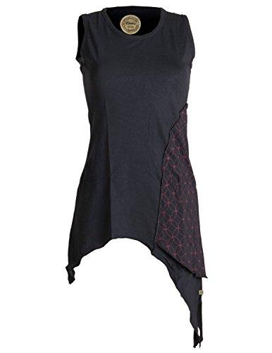 Vishes - Alternative Bekleidung – Asymmetrische, zipfelige Elfentunika, Minikleid aus Baumwolle schwarz 42