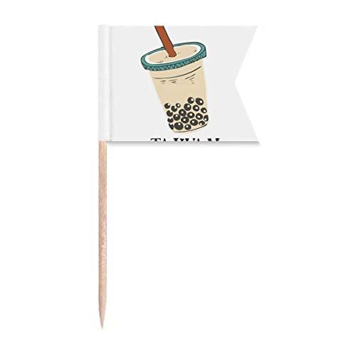 Drink Pearl Milch Tee Lebensmittel Taiwan Zahnstocher Flaggen Markierung für Party Kuchen Lebensmittel Käseplatte