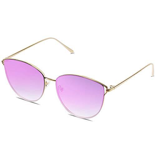 SOJOS Retro Runde Katzenaugen Sonnenbrille Mirrored Metall Flach Linsen SJ1085 mit Gold Rahmen/Verlauf Violett Linse