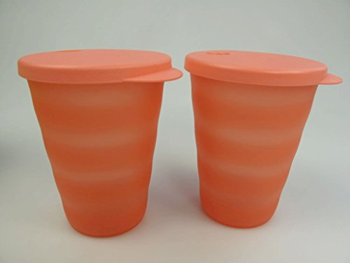 TUPPERWARE Junge Welle Trinkhalmbecher 330 ml pastellorange (2) Trinkhalm Becher 15549