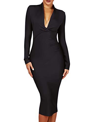 UONBOX Women's Deep Plunge V Neck Long Sleeves Draped Knee Length Bodycon Bandage Dress (M, Black)