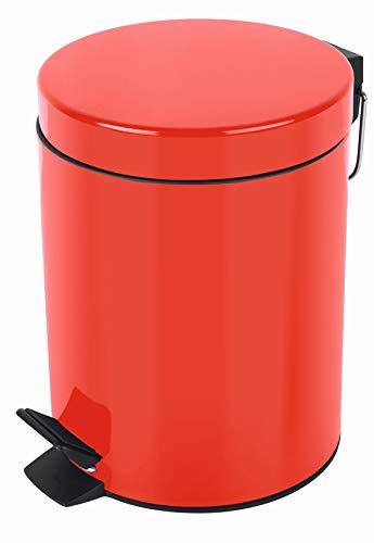 Spirella Kosmetikeimer Sydney Rot Mülleimer Treteimer Abfalleimer - 5 Liter – mit herausnehmbaren Inneneimer