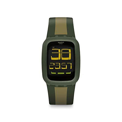 Swatch Unisex Erwachsene Digital Quarz Uhr mit Silikon Armband SURG101D