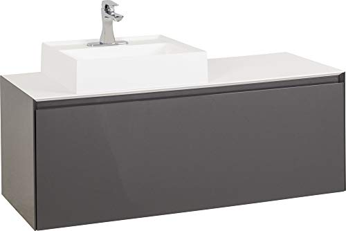 Best Bargain 48″ Grey contemporary wall mounted vanity with acrylic resin countertop and vessel bowl.
