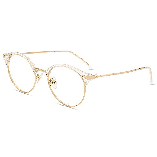 Firmoo Gafas de Lectura con Luz Azul 1.5x para Mujeres y Hombres, Gafas para Computadora, Gafas Redondas sin Deslumbramiento, Resistentes a los Arañazos, Ancho de Marco 133mm, Transparente