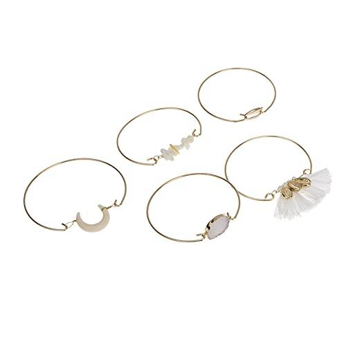 Denluns Juego de 5 pulseras de cadena de mano ajustables para mujer de capas de oro con apertura para mujer,