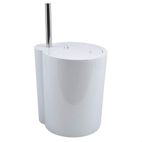 Spirella WC Bürste und Abfalleimer Moon 2in1 | Toilettenbürste Kosmetikeimer 6 Liter mit Ring zum unsichtbaren einhängen vom Müllbeutel | 24x20,5x40cm | Weiß