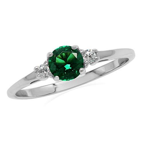 Silvershake Petite Green Nano Emerald & White CZ 925 Sterling Silver Promise Ring Size 4.5