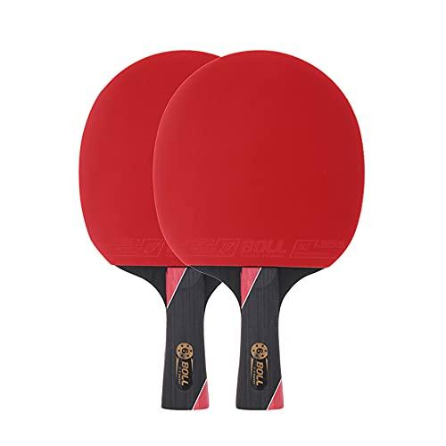 LINGOSHUN Raquetas de Ping Pong de Fibra de Carbono de 6 Estrellas para Mayor Control,Giro,2 Raquetas de Tenis de Mesa/Double/A