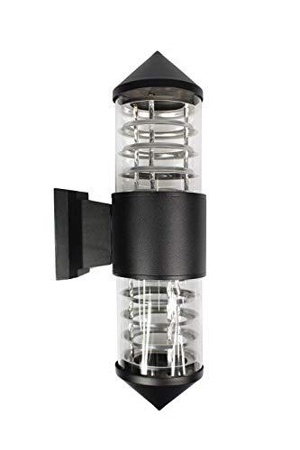 Vetrineinrete Applique a parete moderno per esterno doppia emissione di luce UP & DOWN lampada a muro E27 da giardino moderna IP55 ES26 nero E38
