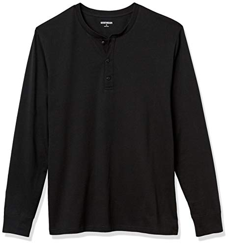 Amazon Brand - Goodthreads Men's Cotton Long-Sleeve Henley, Black, Large