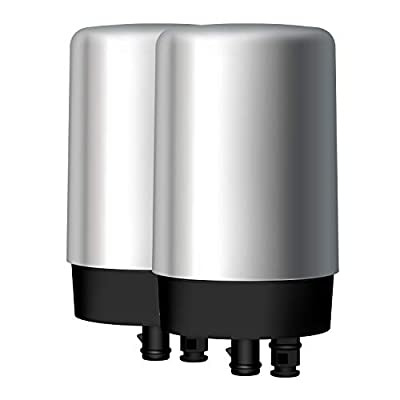 AQUA CREST Faucets Filter Cartridge BPA Free, Compatible with Brita Tap Water Filtration System - Chrome (Pack of 2)