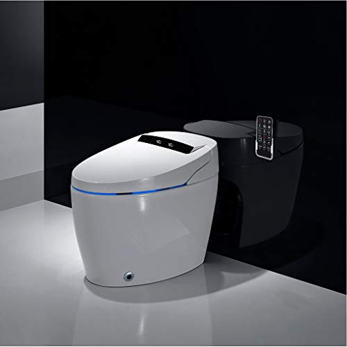 Rashinka Tall Toilets for Seniors 21 in - Integrated Toilet Elongated Compact One Piece Toilet Hip Cleaning Modern Sleek Design Smart Toilet with Wireless Control