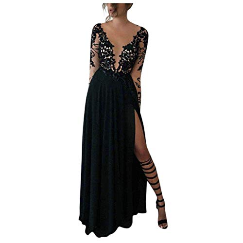Womens V Neck Charming Lace Vintage Backless Gown Evening Party Wedding Guest Dress