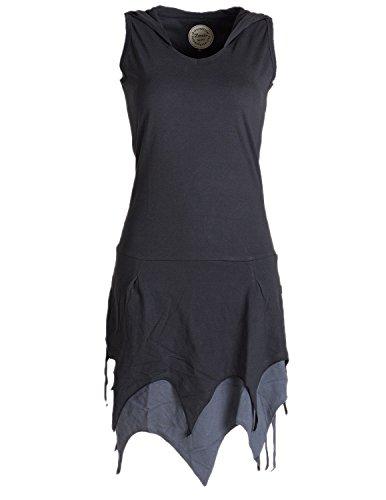 Vishes - Alternative Bekleidung - Ärmelloses Elfenkleid im Lagenlook mit Zipfeln und Zipfelkapuze aus Biobaumwolle schwarz 44/46