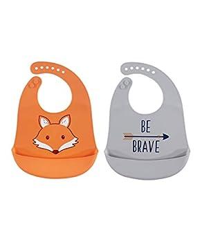 Hudson Baby Unisex Baby Silicone Bibs Fox One Size