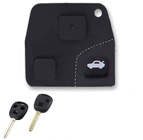Shoppy Lab Keys Pad 2 y 3 Botones de Repuesto Compatible con la Carcasa del Mando a Distancia Toyota Yaris Rav4 Mr2 Corolla Celica Land Cruiser Avalon Avensis Camry Prado Kluger Prius Tarago 4 Runner