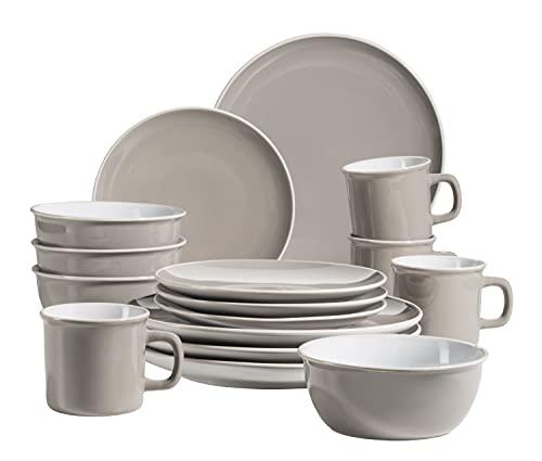 MÄSER 931877 Maila - Vajilla para 4 personas (cerámica, 16 piezas), diseño retro, color gris