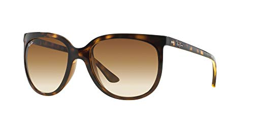 Ray-Ban Women's RB4126 Cats 1000 Eye Sunglasses, Light Havana/Brown Gradient, 57 mm